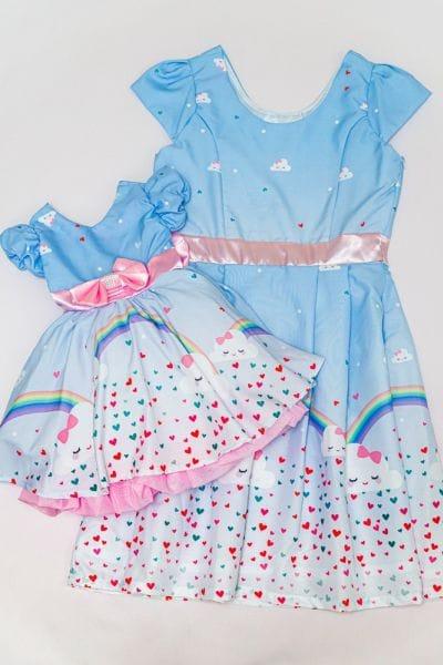 Vestido Chuva de Amor Mae e Filha