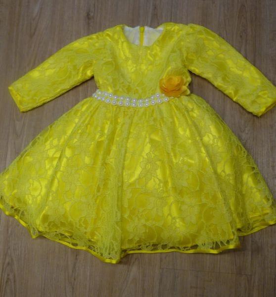Vestido de festa infantil amarelo ouro