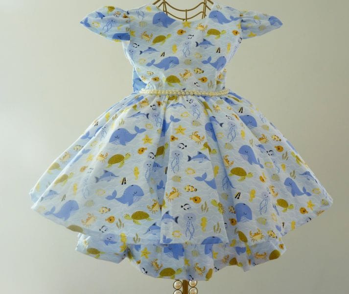 Vestido temático Fundo do Mar