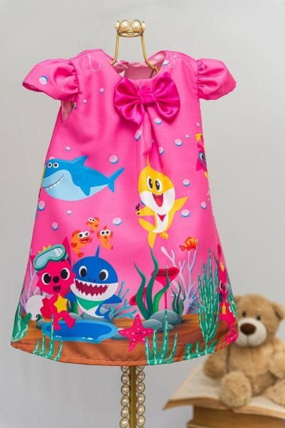 Vestido Trapézio BabyShark Rosa