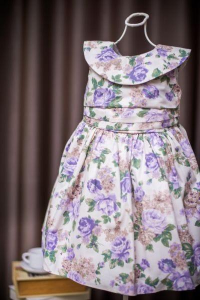 Vestido Infantil Estampado com Flores Lilás