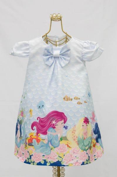 Vestido Infantil Estampa Fundo do Mar