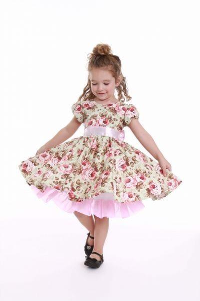 Vestido Floral Infantil Festa