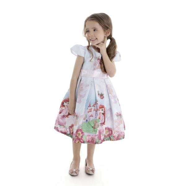 Vestido de Festa Infantil da Ariel Humana
