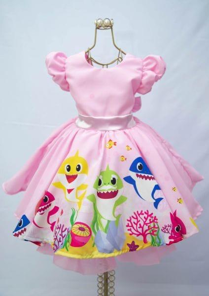 Vestido de festa infantil Baby Shark Rosa
