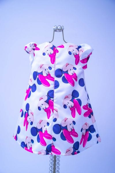 Vestido da Minnie Rosa e Branco