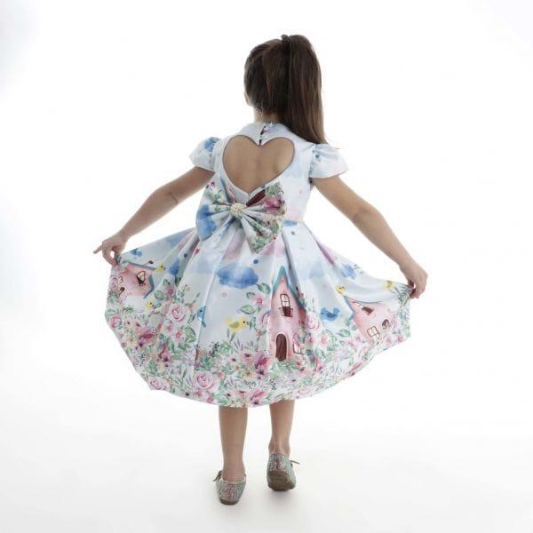Vestido Infantil Jardim Encantado e Passaros