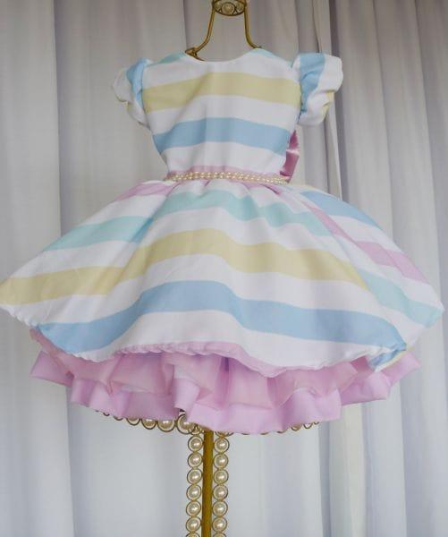 Vestido Arco-Íris Para Festa Infantil