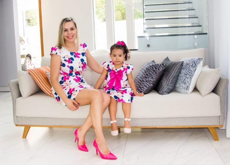 Vestido da Minnie Rosa Mae e Filha