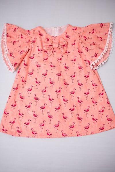 Vestido Infantil de Flamingos