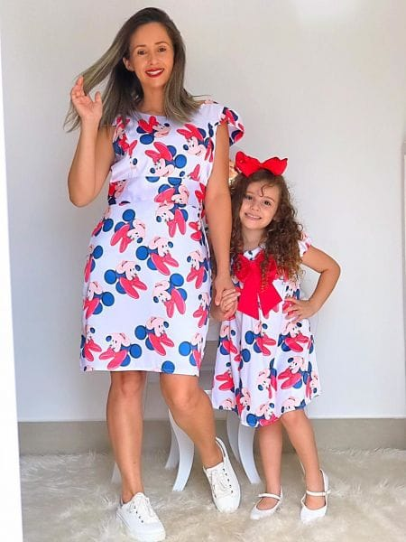 Vestidos da Minnie Vermelha Mae e Filha