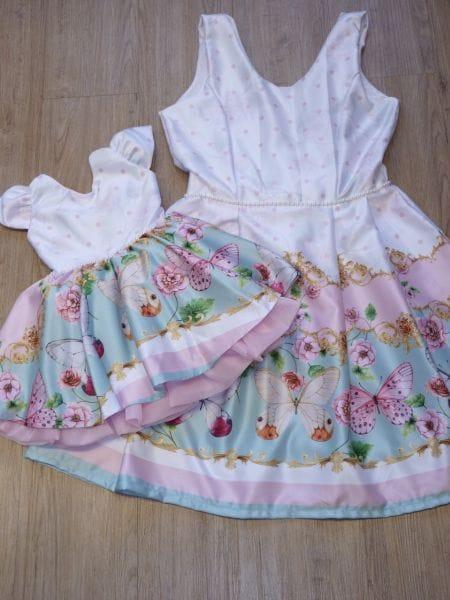 Vestido Jardim das Borboletas Mãe e Filha