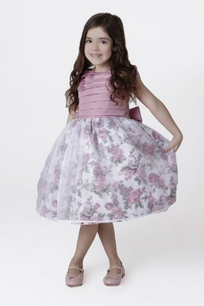 Vestido Infantil de Daminha Rose com Floral