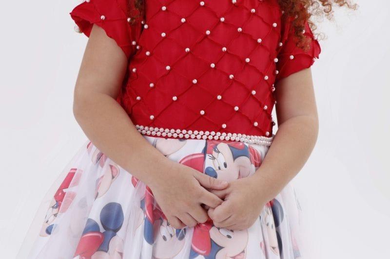 Vestido De Luxo da Minnie vermelho com bordado em pérolas