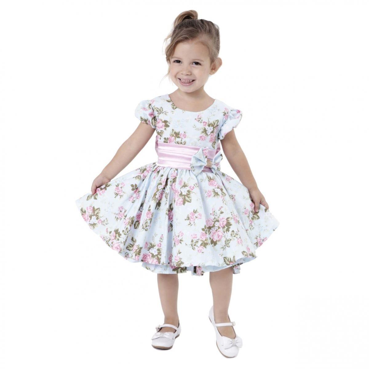 Vestido Infantil Floral Rosa e Azul