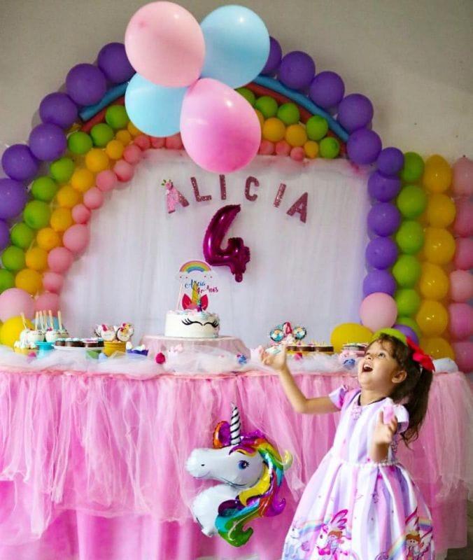 Vestido de Unicornio Infantil Para Aniversario