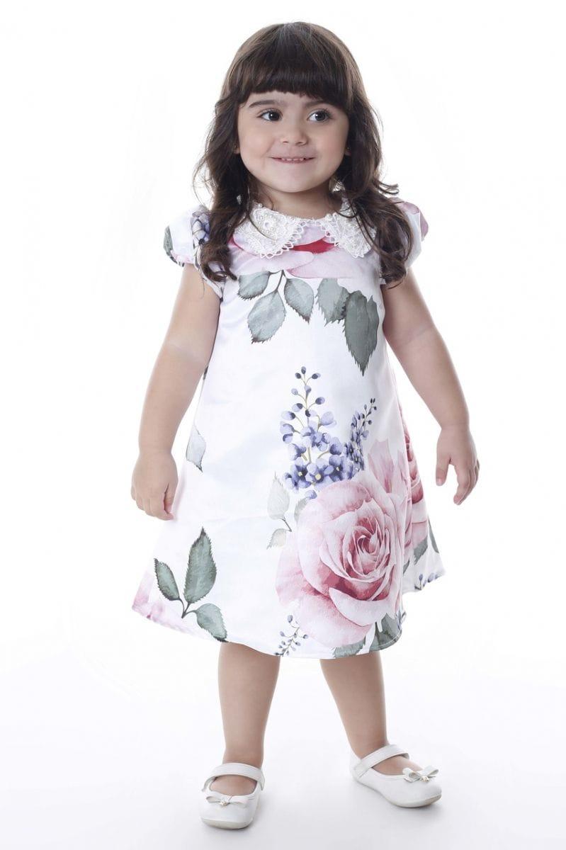 Vestido Infantil com Gola