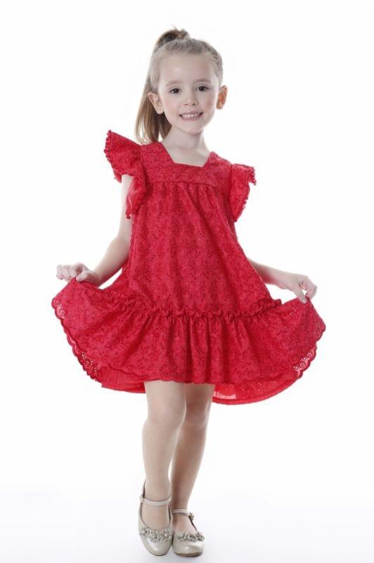 Vestido de Lese Infantil Vermelho