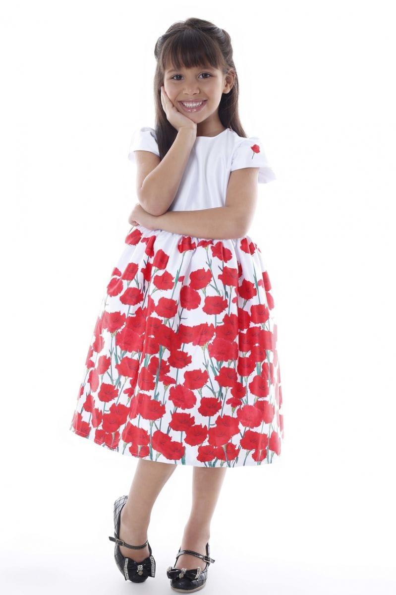 Vestido Infantil com Barrado Floral