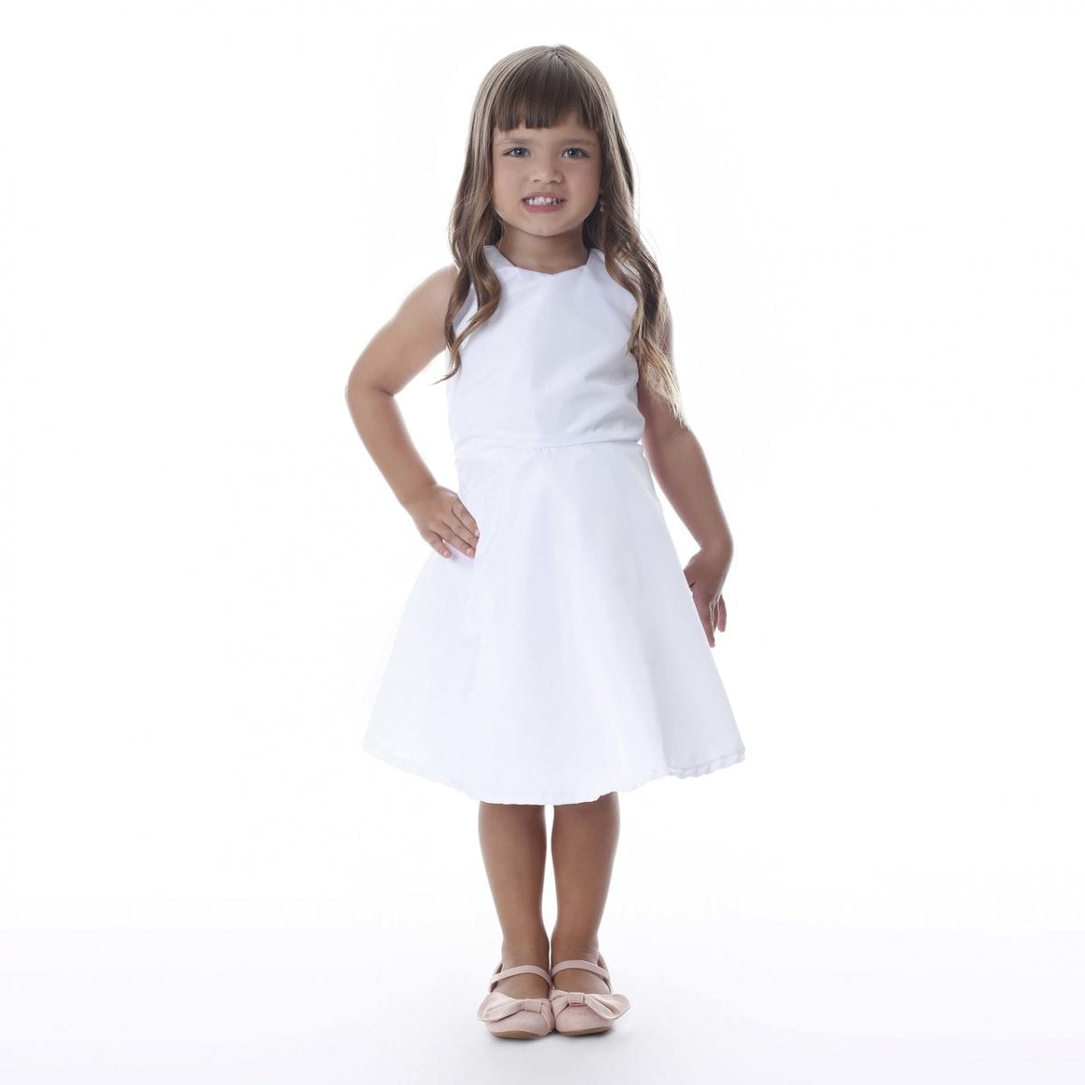 Vestido de Festa Infantil Branco Simples
