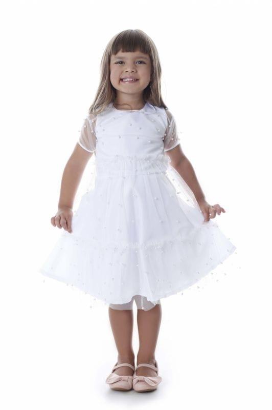 Vestido de Festa Infantil branco com tule de pérolas
