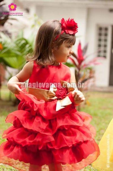 Vestido Princesa Infantil Vermelho com Dourado