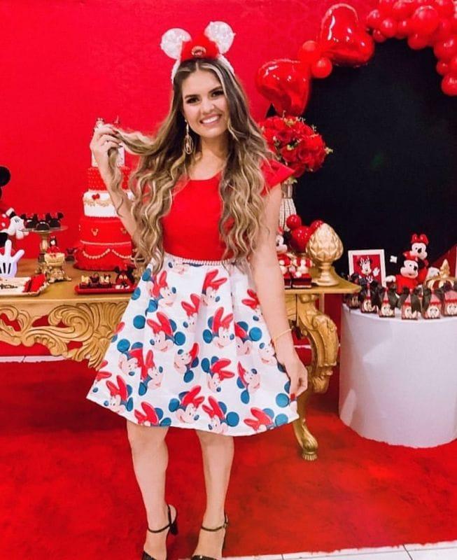 Vestidos Mãe e Filha Minnie Vermelha Super Luxo