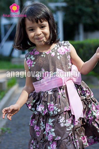 Vestido Infantil Balonê Marrom Floral