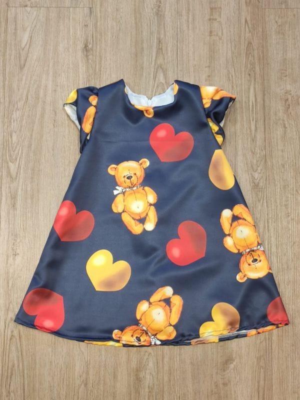 Vestido Infantil Ursinhos e Corações