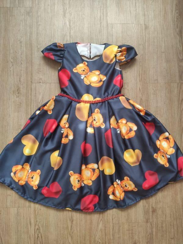Vestido Infantil Luxo Ursinhos e Corações