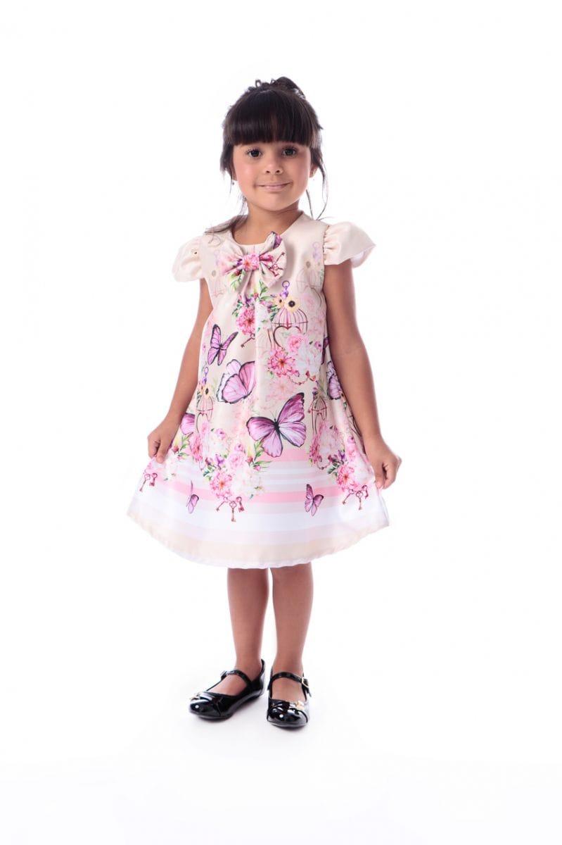 Vestido Infantil com Borboletas Trapézio