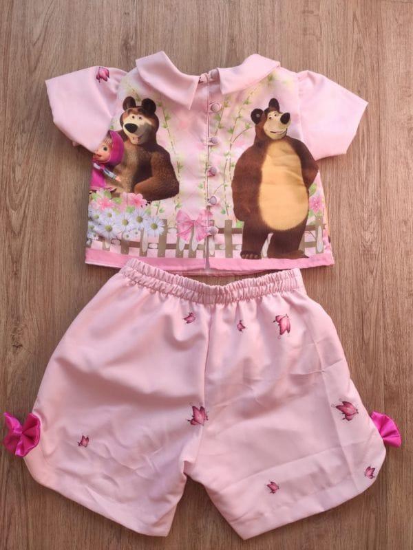 Conjunto Infantil Feminino Masha e o Urso
