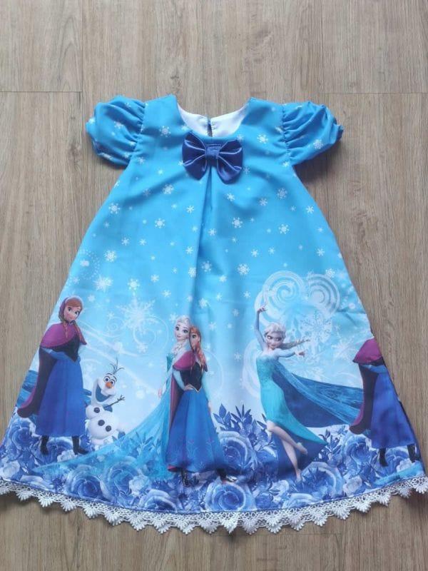 Vestido da Frozen Elsa e Anna Trapézio