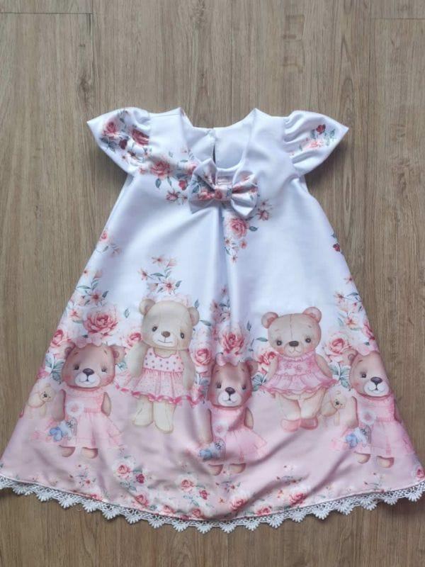 Vestido Infantil Ursinhos Trapezio