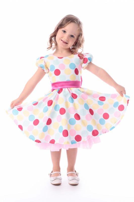 Vestido Infantil Circo Bolas Coloridas