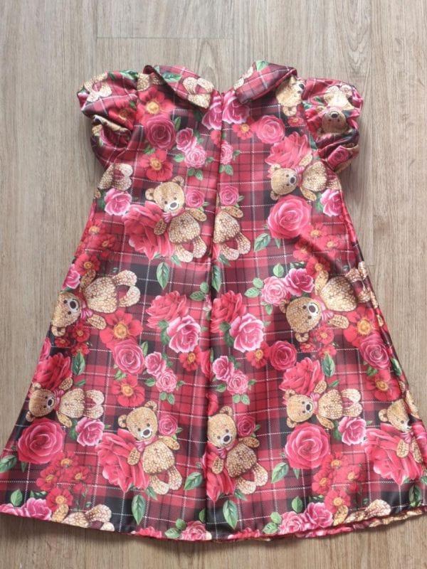 Vestido de Ursinho Infantil Trapézio