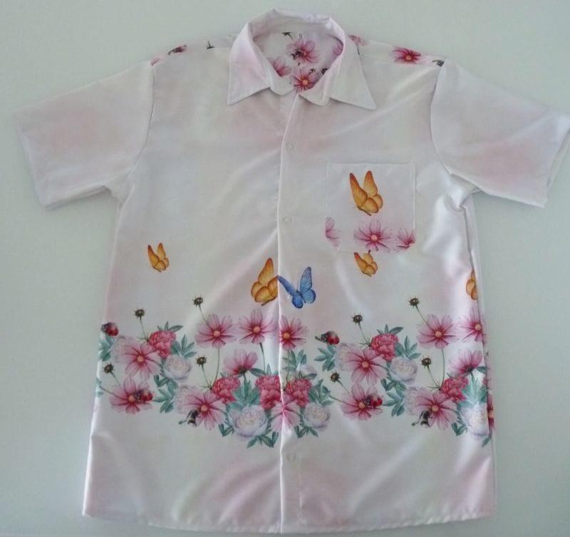 Camisa Masculina Jardim das Borboletas