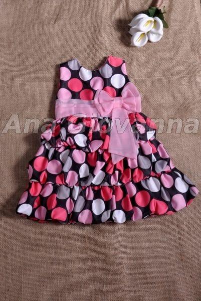 Vestido Infantil Preto de Bolinhas Balonê