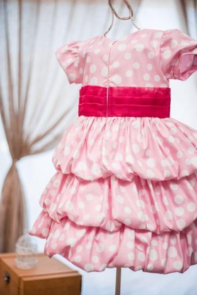 Vestido Infantil Minnie rosa balonê