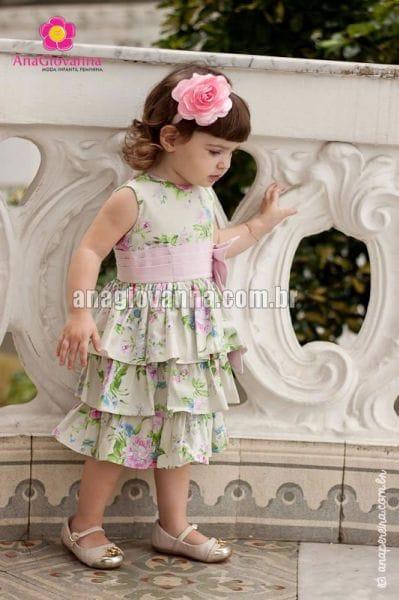 Vestido Infantil Floral com Babados