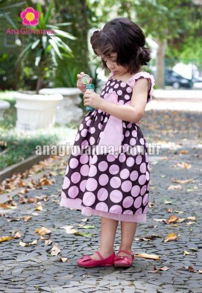 Vestido Infantil Marrom e Rosa com alcinha