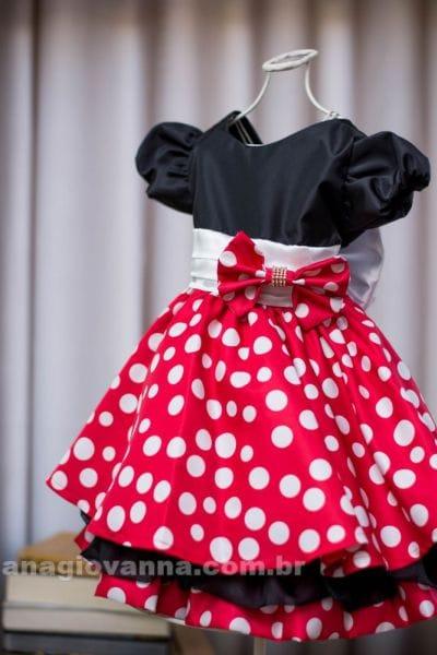 Vestido de festa infantil da minnie vermelha