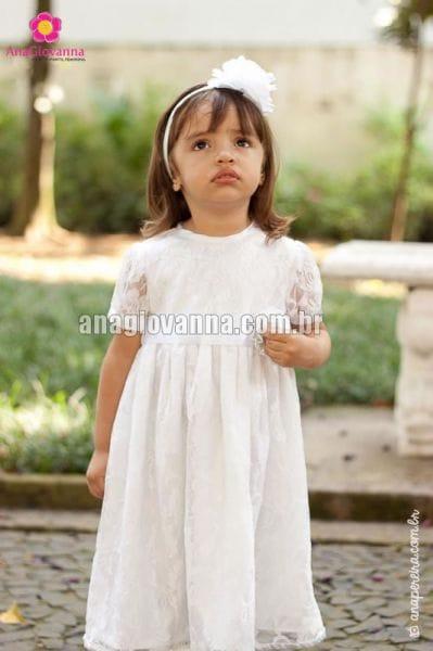 Vestido Infantil para festa de Renda Branco com mangas