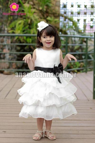 Vestido para festa infantil branco