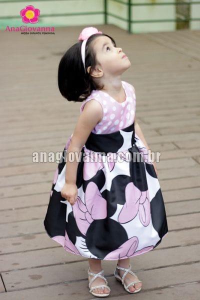 Vestido Infantil Minnie Luxo Rosa