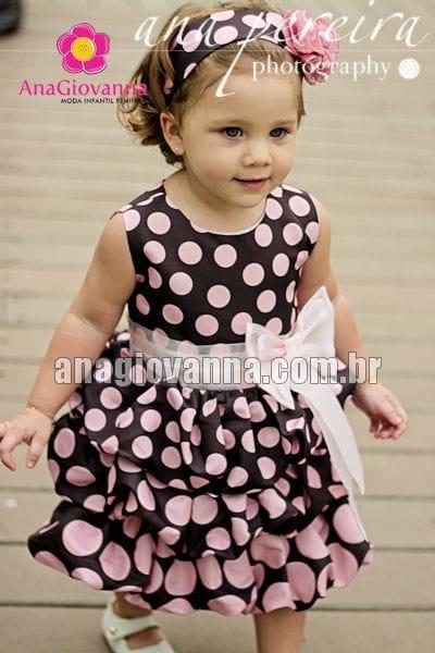 Vestido Marrom e Rosa Infantil Balonê
