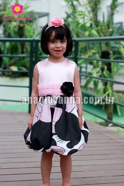 Vestido da Minnie rosa infantil para festa