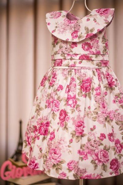 Vestido de Menina Floral Rosa para Festa Infantil