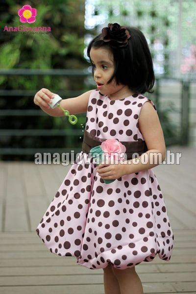 Vestido Infantil Rosa com Marrom Baby