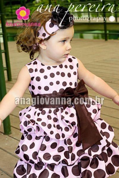 Vestido Infantil Rosa e Marrom Balonê